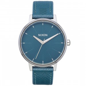 Nixon Kensington Leather Watch (blue / aqua peacock)