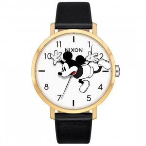 Nixon x Disney Arrow Leather Watch - Long Way Down (gold / black)