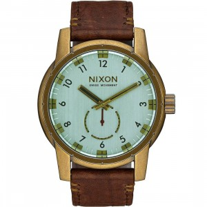 Nixon Patriot Leather Watch (brown / brass / green)