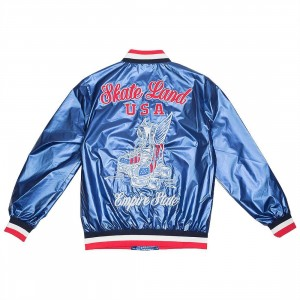 Paper Planes Men Wheels Up Varsity Jacket (blue / royal)