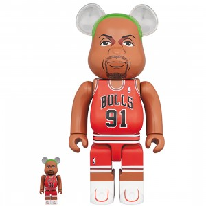 PREORDER - Medicom NBA Chicago Bulls Dennis Rodman 100% 400% Bearbrick Figure Set (red)