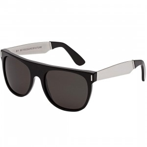 Super Sunglasses Flat Top Large Sunglasses (black / silver)