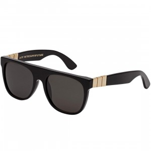 Super Sunglasses Flat Top Large Gianni Sunglasses (black / gold)
