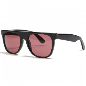 Super Sunglasses Flat Top Sunglasses (black / bordeaux)