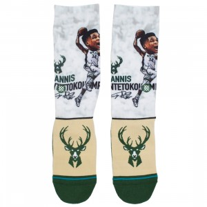 Stance x NBA Men Giannis Big Head Socks (green)