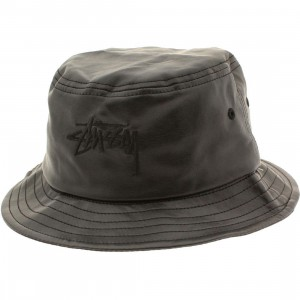 Stussy Stock Leather Bucket Hat (black)