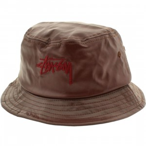 Stussy Stock Leather Bucket Hat (burgundy)