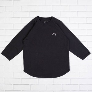 Stussy Men O-Dyed Long Sleeve Raglan Tee (black)