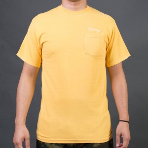 Stussy Men Stussy Stitch Pigment Dyed Pocket Tee (yellow / faye)