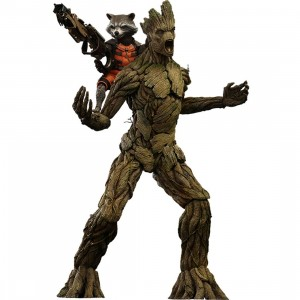 Hot Toys Guardians of the Galaxy Rocket and Groot 1/6 Scale Collectible Figure Set of 2 (brown)
