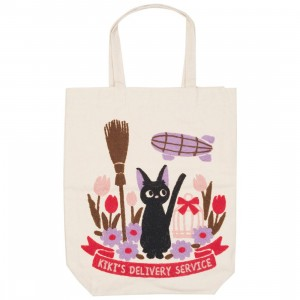 Studio Ghibli Marushin Kiki's Delivery Service Jiji In A Field With Broom Tote Bag (white)