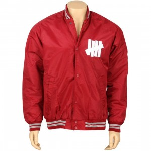 Undefeated Satin Snap Up Jacket (burgundy)