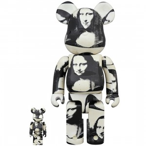 PREORDER - Medicom Andy Warhol Double Mona Lisa 100% 400% Bearbrick Figure Set (white)