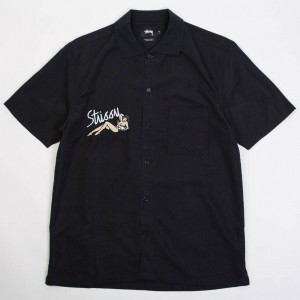 Stussy Men Garage Knit Collar Shirt (black)