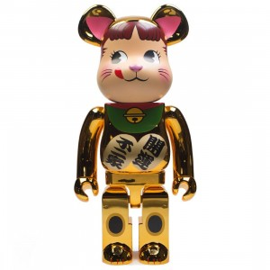 Medicom Manekineko Peko Gold Plated 1000% Bearbrick Figure (gold)