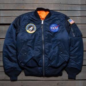 Alpha Industries Men NASA MA-1 Flight Jacket (blue / replica)