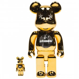 Medicom Atmos Gold Chrome 100% 400% Bearbrick Figure Set (gold)