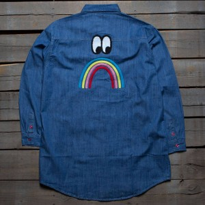 Lazy Oaf Women Sad Rainbow Shirt (blue / denim)