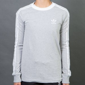 Adidas Women 3-Stripes Long Sleeve Tee (gray / medium grey heather)