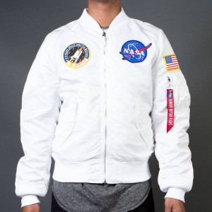 Alpha Industries Men L2B Nasa Flight Jacket (white)