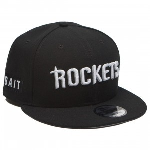 BAIT x NBA X New Era 9Fifty Houston Rockets Alt Black Snapback Cap (black)