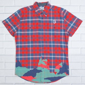 Billionaire Boys Club Men BB Leisure Button Down Shirt (red)
