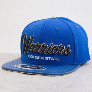 Pro Standard x NBA Golden State Warriors Dropshadow Script Leather Brim Cap (blue / royal)