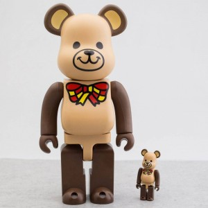 Medicom Freemasonry 100% 400% Bearbrick Figure Set (brown)