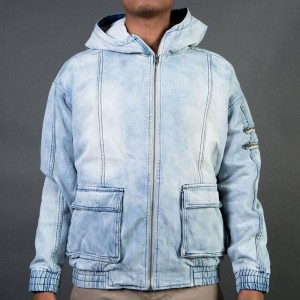 Zanerobe Men Box Hood Jacket Blonde Denim (blue/ denim)