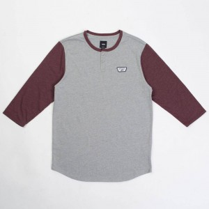 Vans Men Cajon Baseball Tee (gray / burgundy)
