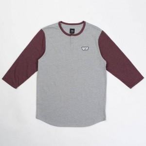 Vans Men Cajon Baseball Tee (gray / burgundy)