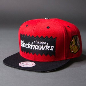 BAIT x NHL x Mitchell And Ness Chicago Blackhawks STA3 Wool Snapback Cap (red / black)