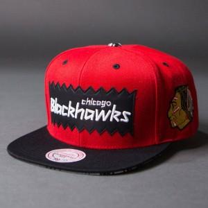 BAIT x NHL x Mitchell And Ness Chicago Blackhawks STA3 Wool Snapback Cap (red / black)