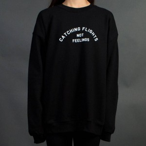 Dimepiece Women Catching Flights Not Feelings Crewneck Sweater (black) 1S