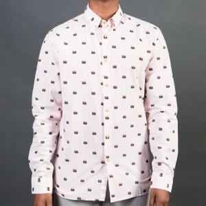 Barney Cools Men Button Up Burger Shirt (pink / burger)