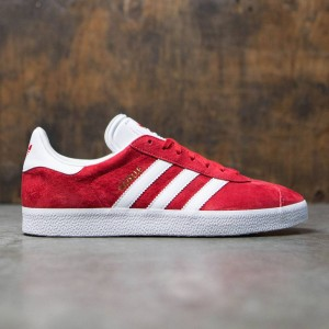 Adidas Men Gazelle (red / scarlet / footwear white / gold metallic)