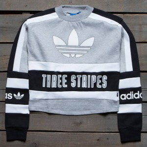 Adidas Women Three Stripes Sweatshirt (gray / medium gray / black)