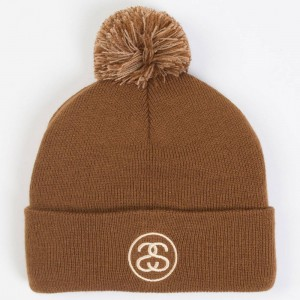 Stussy SS Link Pom Fall 2017 Cuff Beanie (brown / chocolate)