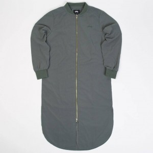 Stussy Women Tonic Zip Dress (olive)