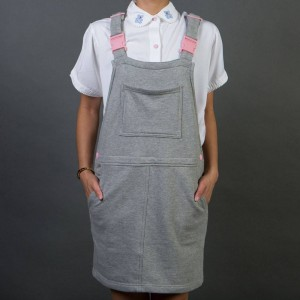 Lazy Oaf Women Clippy Dungaree Dress (gray)