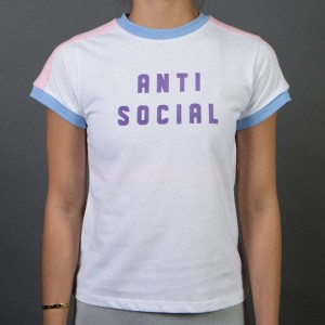 Lazy Oaf Women Anti Social Tee (pink / blue)