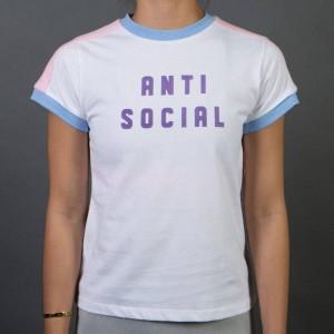 Lazy Oaf Women Anti Social Tee (pink / blue)