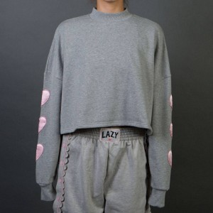 Lazy Oaf Women Puffy Hearts Sweater (gray)