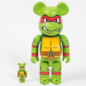 Medicom TMNT Raphael 100% 400% Bearbrick Figure Set (green)