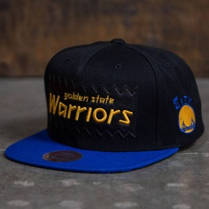BAIT x NBA x Mitchell And Ness Golden State Warriors STA3 Wool Snapback Cap (black)