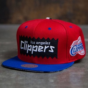BAIT x NBA x Mitchell And Ness Los Angeles Clippers STA3 Wool Snapback Cap (red / royal)