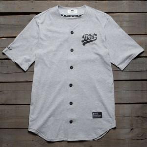 BAIT Men Script Logo Baseball Jersey Shirt (gray)