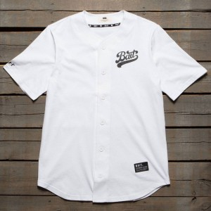 BAIT Men Script Logo Baseball Jersey Shirt (white)