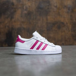 Adidas Little Kids Superstar Foundation (white / bold pink / footwear white)