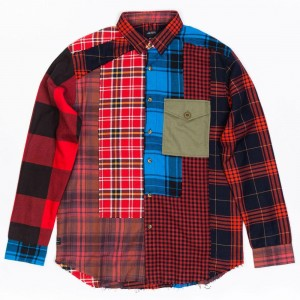 10 Deep Men Apocalypse Work Long Sleeve Shirt (red / flannel)